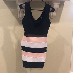 Black dress with pink and white straps